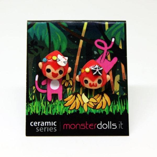 Pink Monkeys - Earrings Ceramic Series