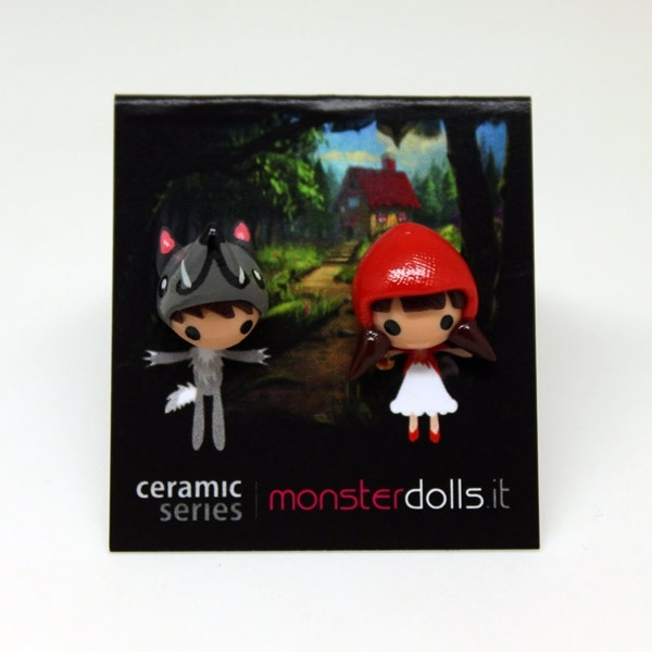 Little Red Riding Hood + Wolf - Earrings Ceramic Series
